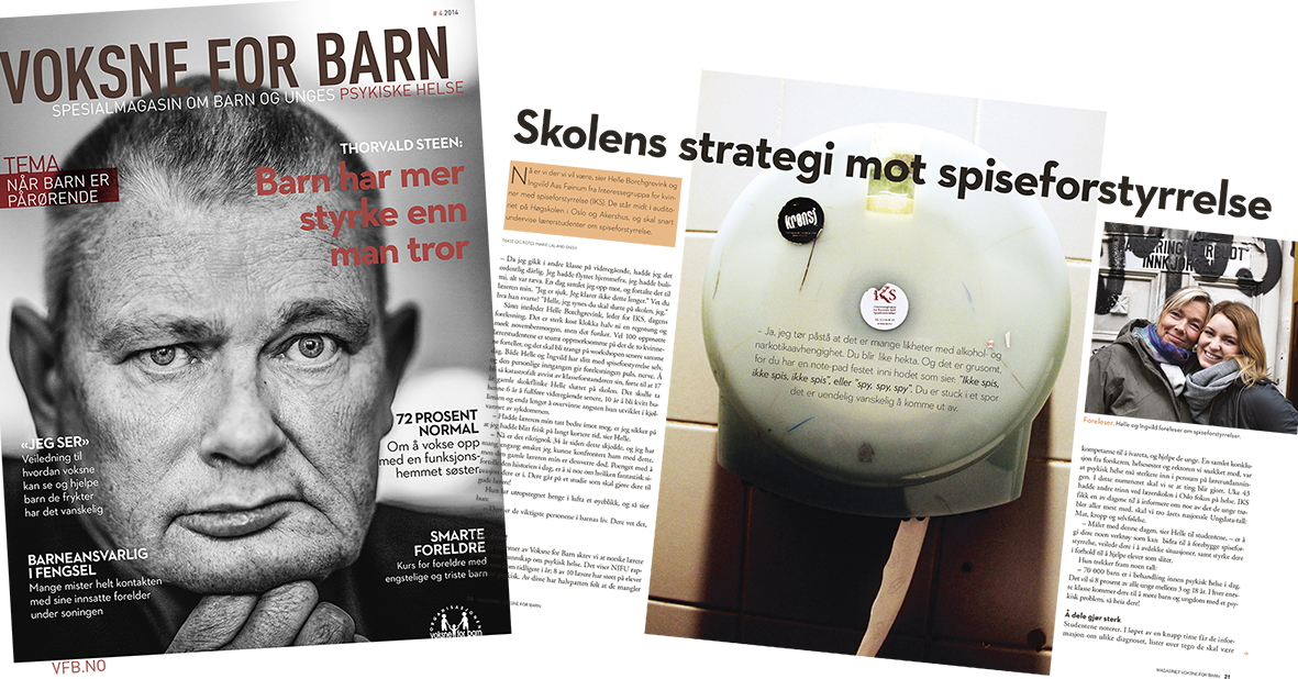 Workshop, redesign, art direction and production, Young mental health Magazine, Voksne for Barn
